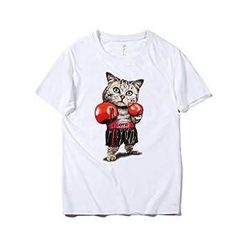 Hombres, Manga Corta, Algodón, Dibujos Animados, Boxeo, Gato, Camiseta Impresa