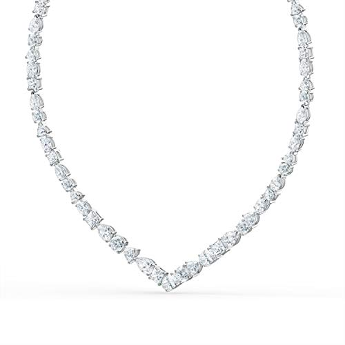 SWAROVSKI Women's Tennis Deluxe Jewelry Collection, Rhodium Finish, Clear Crystals