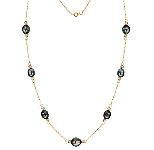 14k Yellow Gold Station Necklace with Tahitian Cultured Black Pearl Necklace 8-10mm 18 inch