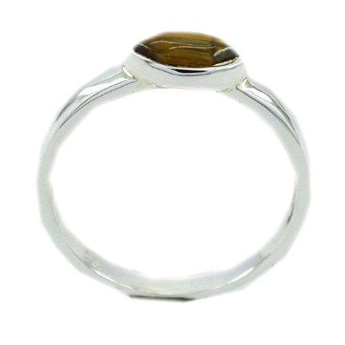 Natural Tiger Eye Silver Ring For Women Bezel Style Oval Shape Size (Cushion Cut Tigers Eye Ring)