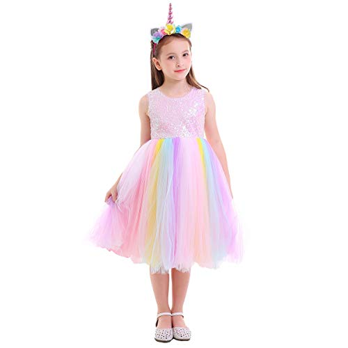 Unicorn Costume Dress Layered Princess Flower Girl Birthday Party Tulle Cosplay Pageant Dance Outfits Evening Gowns Costumes Fancy Dressing Up Clothing Pink Sequin+Rainbow with Headband 6-7 -