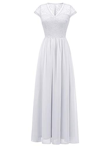 Wedtrend Long Lace Chiffon Maxi Bridesmaid Dress V Neck Formal Party Gown DressWT0208WhiteM
