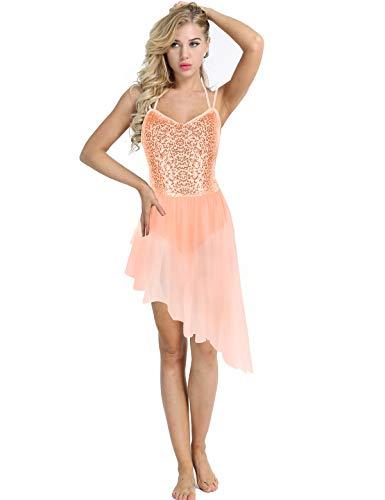 Alvivi Women's Girls Sequined Ballet Lyrical Dance Irregular Chiffon Dress Ballerina Leotard Dancewear Orange Small]()