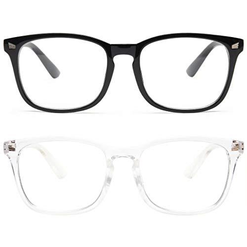 livho - Paquete de 2 anteojos con bloqueo de luz azul, lentes para lectura / juegos / TV / teléfonos para computadora para mujeres y hombres, antideslumbramiento y rayos UV