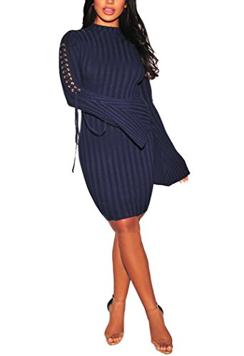 Sexycherry Womens Long Sleeve Casual Work Business Party Stretchable Elasticity Slim Fit Sweater Dress by sexycherry (Image #8)