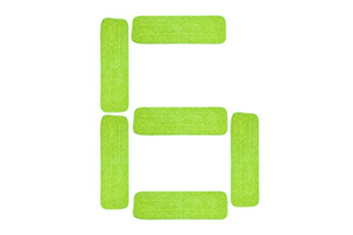"""LTWHOME 18"""" Microfiber Wet or Dry Mop Pads in Green for All Hard Surfaces Cleaning (Pack of 6)"""