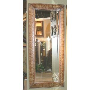 Ornate full length embossed copper mirror large wall or for Large long wall mirrors
