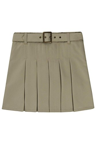 French Toast Little Girls' Pleated Scooter With Square Buckle Belt, Khaki, 6X (Pleated Buckle)