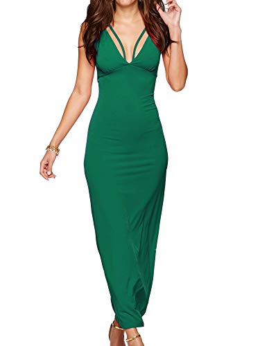 Eliacher Women's Casual Spaghetti Strap Summer Dress Bodycon Midi Party Sleeveless Dresses (S, Peacock Green) (Peacock Party Dress)