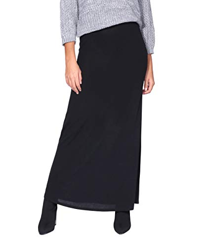 KRISP 2968-BLK-16: High Waist Knitted Maxi Skirt ()