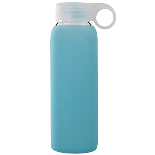 BONISON Durable Glass Water Bottle with Soft Colorful Silicone Sleeve, 9 oz, Blue