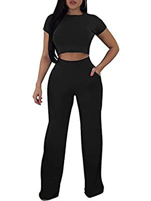 LAGSHIAN Women's Sexy Crop Top and Pants Set Two Piece Romper Jumpsuts