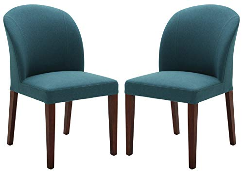 """Amazon Brand – Rivet Contemporary Curved-Back Armless Dining Chair, 35""""H, Aqua, Set of 2 - A curved back and sturdy solid wood frame provide support in this modern armless chair. Aqua upholstery provides a pop of color in most any dining area color scheme, allowing these chairs to enhance any space they are in, and durable fabric construction upkeep for this chair is simple. 20""""W x 24""""D x 35""""H; seat height: 20""""H; seat depth: 17""""D; seat back height: 15""""H Set of 2 - kitchen-dining-room-furniture, kitchen-dining-room, kitchen-dining-room-chairs - 31QVWN8yZ2L -"""
