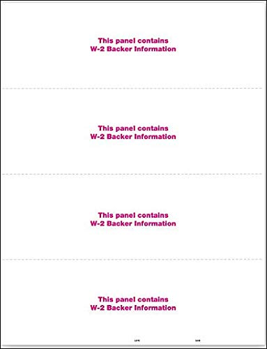 EGP IRS Approved Blank W2 Laser Tax Form with Back Instructions, Horizontal  Format, Quantity 100 Recipients