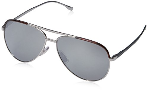 BOSS by Hugo Boss Men's B0782s Aviator Sunglasses, Palladium Black/Silver Mirror, 60 (Hugo Framed)