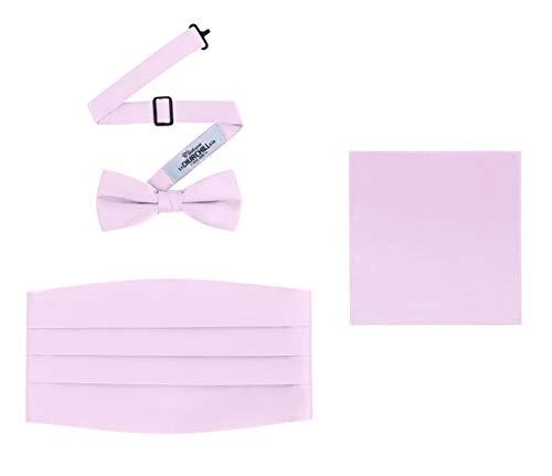 Men's 3 Piece Formal Accessory Set with Bow Tie, Cummerbund & Pocket Hanky(Pink) ()