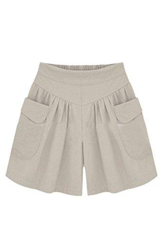 Estivi Shorts Pantaloncini Sportivi Monocromo Con High Pantaloni Battercake Tasche Pants Moda Due Giovane Sciolto Grigio Corti Waist Donna Elegante Dei Casuale Casual Donne fEqSvA