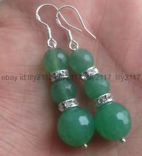 AA 8-10mm Natural Faceted Green Emerald Gemstones Silver Hook Dangle Earrings