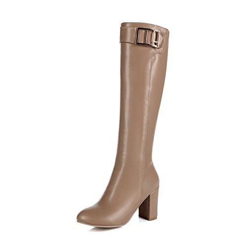 KingRover Womens Casual Block Heel Knee High Ladies Zip Buckle Stretch Leg Boots Size eFMF3gmZhq