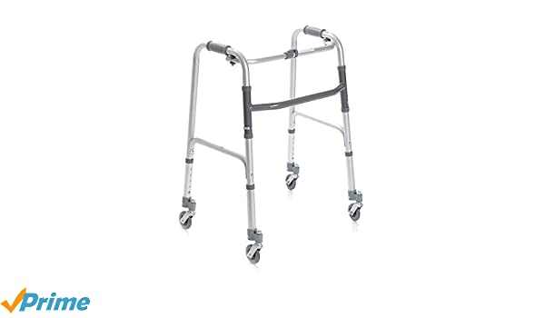 Andador plegable, regulable en altura con 4 ruedas ...