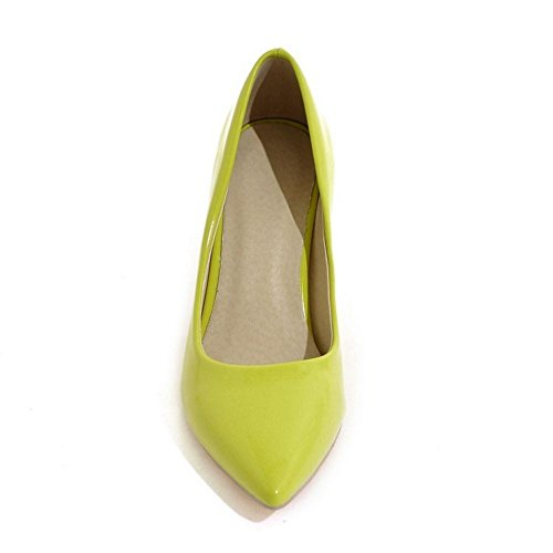 Pumps Shoes Block 15 Heel Women's High Yellow TAOFFEN wpIUqRp