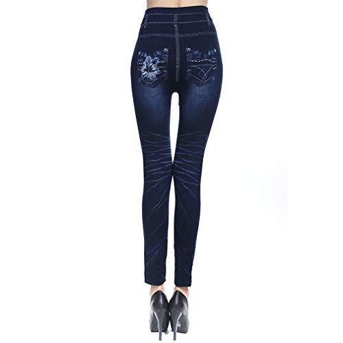 Imitación Mujer Alta Mujer Negros Pequeños Atractivos C Imitación Largos Flores 3XL S Pantalones Estampado Cintura Pantalones Azules Loto Vaquero Denim Pantalones Pies Moda ZqIttR
