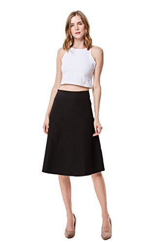 MoDDeals High Waist A-Line Below The Knee Flared Midi Skirt Stretch Woven, Black, ()
