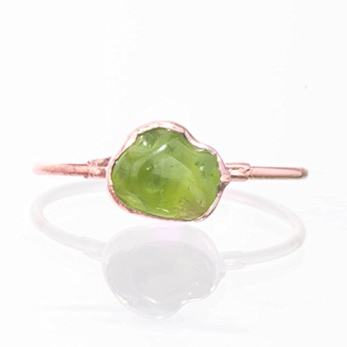 (Raw Peridot Ring, Size 8, Rose Gold, August Birthstone)