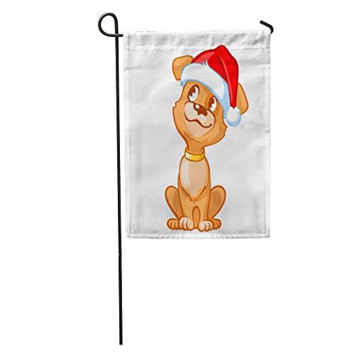 jiebokejiHFGD Garden Flag Happy Cartoon Puppy Wearing Santa Hat Portrait of Cute Little Home Yard House Decor Barnner Outdoor Stand 12x18 Inches Flag ()