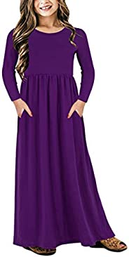 GORLYA Girl's Short Sleeve Floral Print Loose Casual Holiday Long Maxi Dress with Pockets 4-12 Y