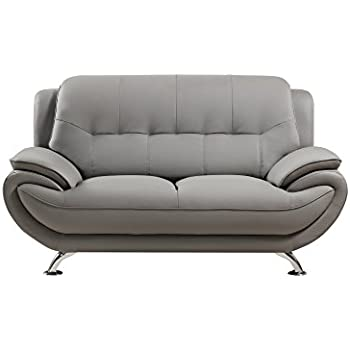 American eagle furniture highland faux leather living room loveseat with pillow top for Faux leather living room furniture