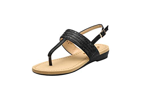 Greens Sparkly Rhinestone Adjustable Buckle Flat Dress Sandal for Women, Melisa10 Black Size 8.5