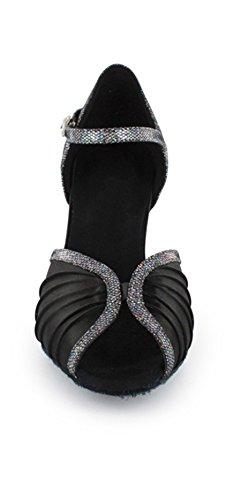 Evening Black Heel Latin Wedding Satin Ruched Women's Moderm TDA Mid Sandals Dance Shoes 7XxqwFzEF