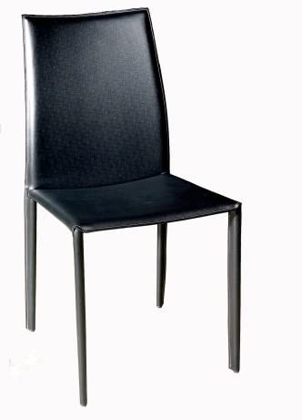 Baxton Studio Delia Leather Dining Chair, Black, Set of 2