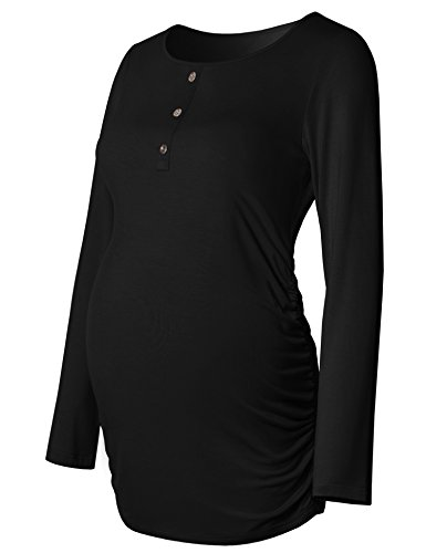 Maternity Shirt Ruched Sides Long Sleeve Round Neck Button Front For Women Mama Casual Pregnancy Top Black L