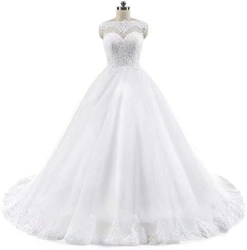 LovelyBridal Women Cap Sleeve Lace Appliques Beaded Ivory Wedding Dresses