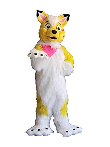Yellow Fox Dog Wolf Husky Cartoon Mascot Costume