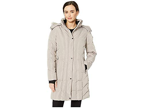 Calvin Klein Women's Puffer Long Coat with Removable Fur Trimmed Hood , THISTLE, XS Calvin Klein Puffer Coat'
