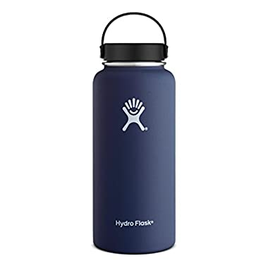 Hydro Flask 32 oz Vacuum Insulated Stainless Steel Water Bottle, Wide Mouth w/Flex Cap, Cobalt