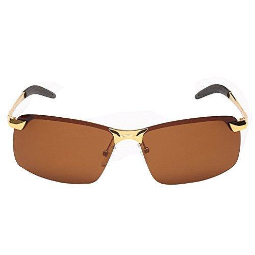 de Cool Brown Lunettes conduite Marron Frame soleil pour Lens Lunettes pour cyclisme Gold Fashion UV de Lunettes homme polarisées Randonnée rU7rqw