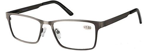 Eyecedar 5-Pack Reading Glasses Men Rectangle Frame Metal Grey Stainless Steel Material Spring Hinges Readers 2.50 by eyecedar (Image #1)