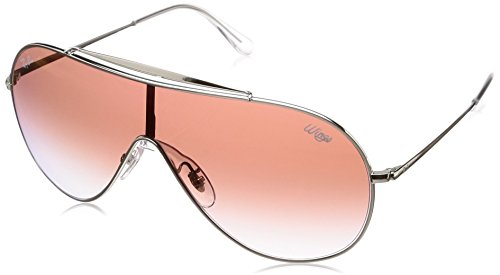 Ray-Ban RB3597 Wings Shield Sunglasses, Silver/Red Gradient Mirror, 33 mm