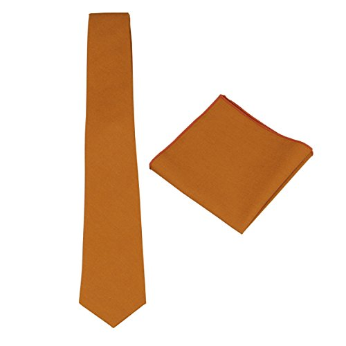Mens Solid Linen Tie Set : Necktie with Matching Pocket Square-Various Colors (Burnt Orange)