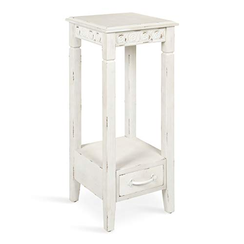 Kate and Laurel Idabelle Modern Farmhouse Wood Accent Table or Plant Stand with Decorative Metal Skirt, Soft White