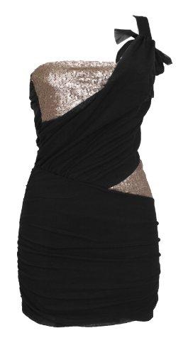 One-Shoulder-Minikleid Kleid Spitze Gr. 34 36 Schwarz #3921-1