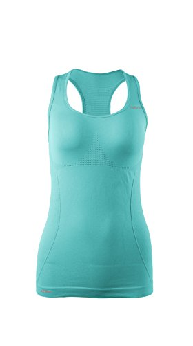 TRIUS Women's Activewear Seamless, Light Compression, Workout + Running Racerback Tank Top, Aqua Blue, Small