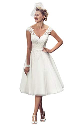 XJLY Vintage V Neck Applique Wedding Dresses Tea Length A line Bridal Gowns