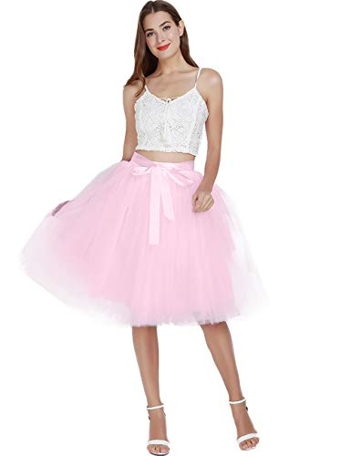 Women's High Waist Princess A Line Midi/Knee Length Tutu Tulle Skirt for Prom Party Pink -