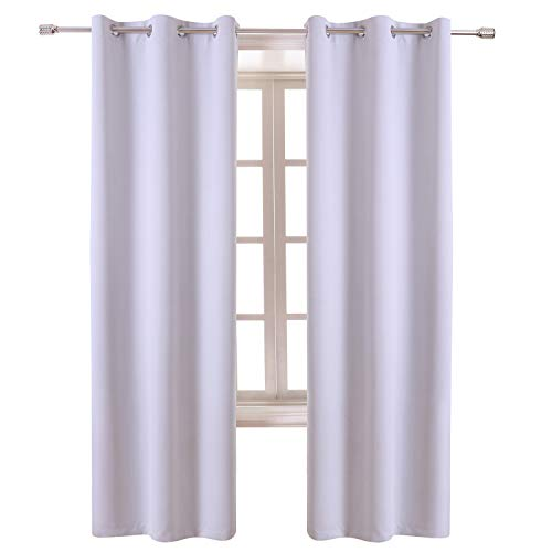 (WONTEX Blackout Curtains Room Darkening Thermal Insulated with Grommet Window Curtain for Living Room, 42 x 72 inch, Greyish White, 2 Panels)