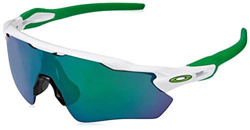 Oakley Men's Radar Ev Path Non-Polarized Iridium Rectangular Sunglasses, Polished White w/Jade Iridium, 138 - Pitch Oakley